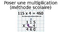 Poser une multiplication, la méthode scolaire