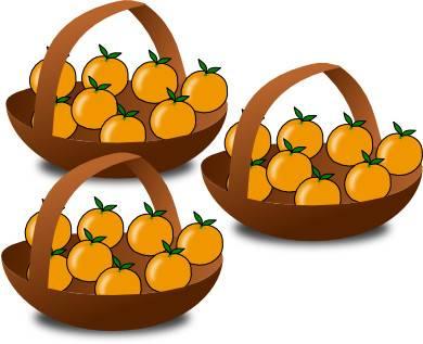 3 paniers d'oranges pour expliquer la table de multiplication de 8 (huit)