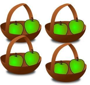 4 paniers de pommes pour expliquer la table de multiplication de un (2)