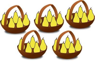 5 paniers de poires pour expliquer la table de multiplication de 5 (cinq)