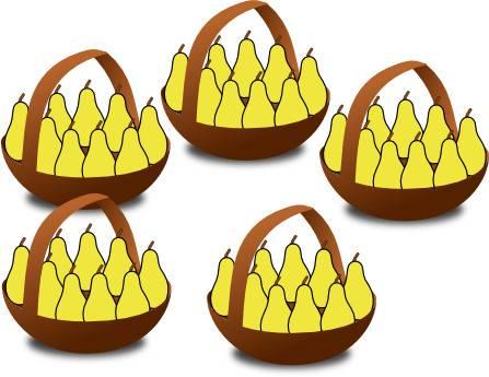 5 paniers de poires pour expliquer la table de multiplication de 9 (neuf)