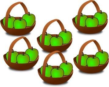 6 paniers de pommes pour expliquer la table de multiplication de un (3)