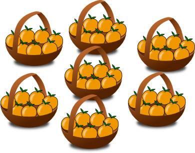7 paniers d'oranges pour expliquer la table de multiplication de 7 (sept)