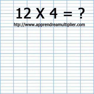 Poser une multiplication à 1 chiffre 12 x 4 (étape 1)
