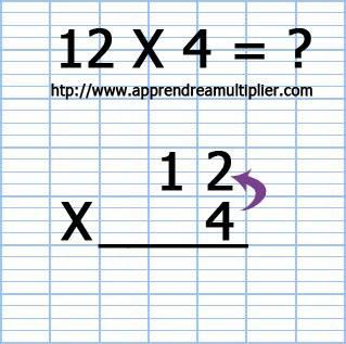 Poser une multiplication à 1 chiffre 12 x 4 (étape 3)