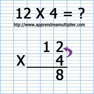 Poser une multiplication à 1 chiffre 12 x 4 (étape 4)