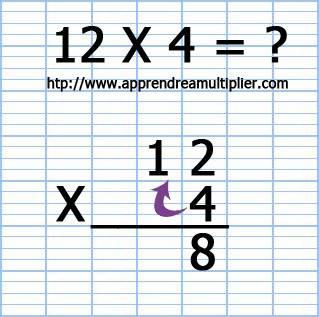 Poser une multiplication à 1 chiffre 12 x 4 (étape 5)