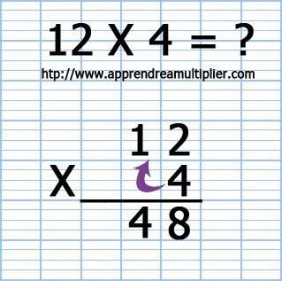 Poser une multiplication à 1 chiffre 12 x 4 (étape 6)