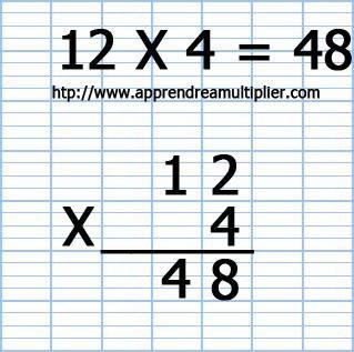 Poser une multiplication à 1 chiffre 12 x 4 (étape 7)
