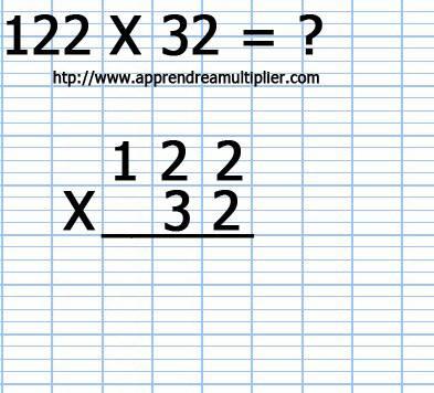 Poser une multiplication à 2 chiffre 122 x 32 (étape 1)