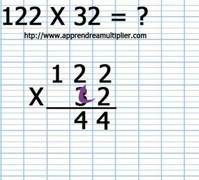 Poser une multiplication à 2 chiffre 122 x 32 (étape 3)