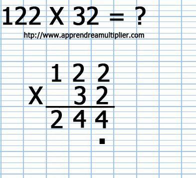 Poser une multiplication à 2 chiffre 122 x 32 (étape 5)