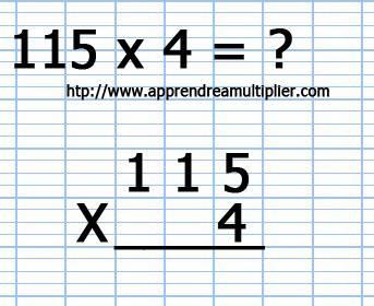 Poser une multiplication avec retenue (étape 1)