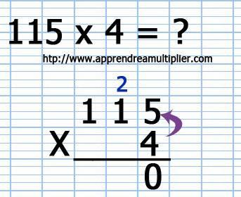 Poser une multiplication avec retenue (étape 2)