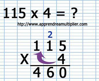 Poser une multiplication avec retenue (étape 4)