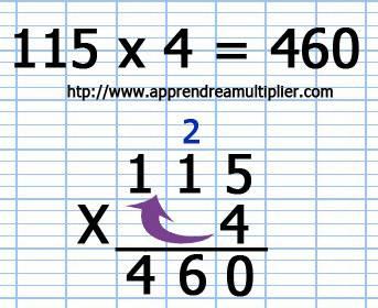 Poser une multiplication avec retenue (étape 5)
