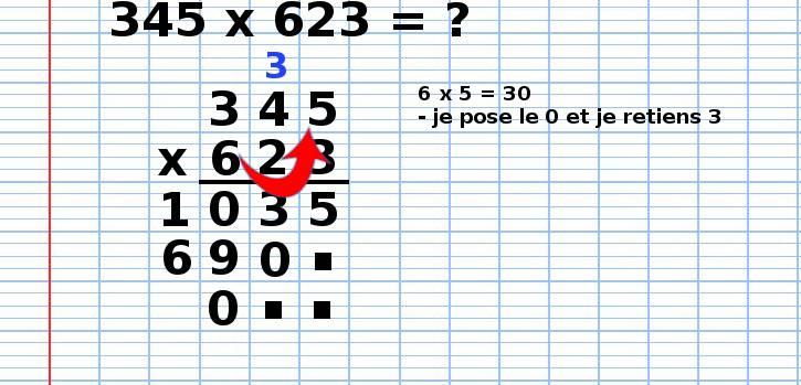 poser une multiplication 345x623, étape 10