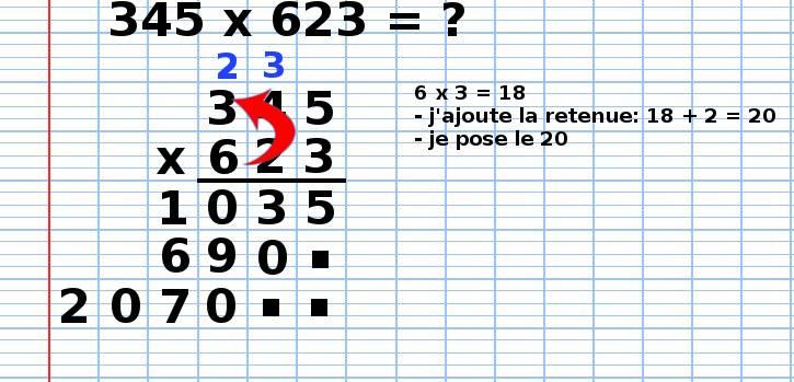 poser une multiplication 345x623, étape 12