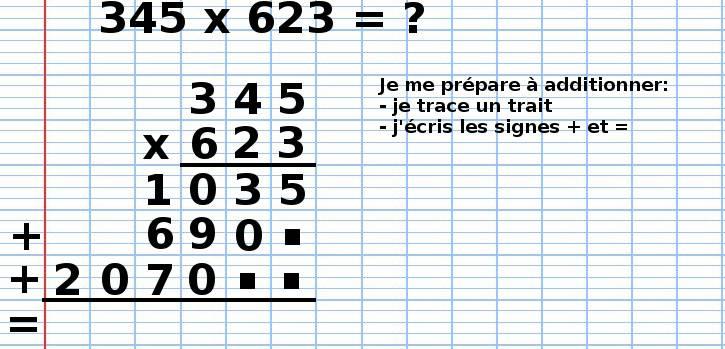 poser une multiplication 345x623, étape 13