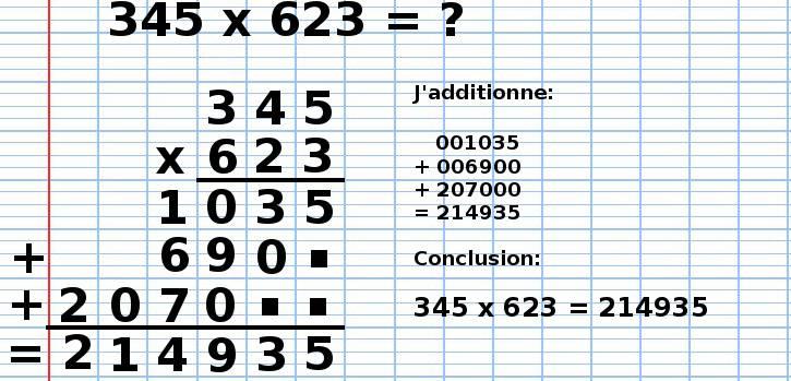 poser une multiplication 345x623, étape 14