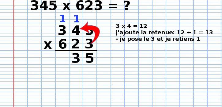poser une multiplication 345x623, étape 3