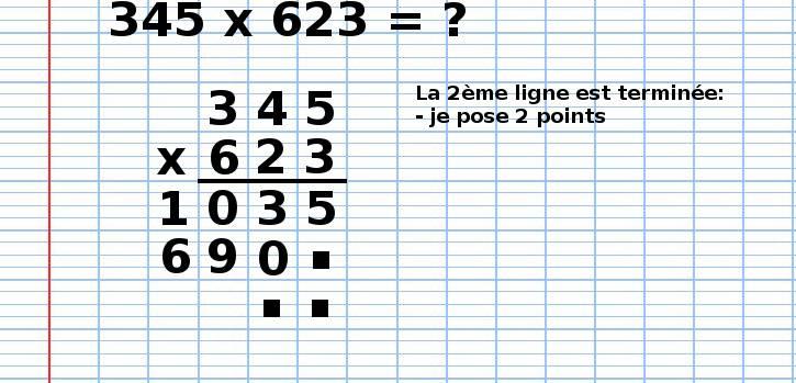 poser une multiplication 345x623, étape 9