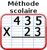 Multiplications, méthode scolaire