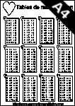 tables de multiplication à imprimer, cœurs A4