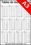 tables de multiplication à imprimer, noir et blanc A3
